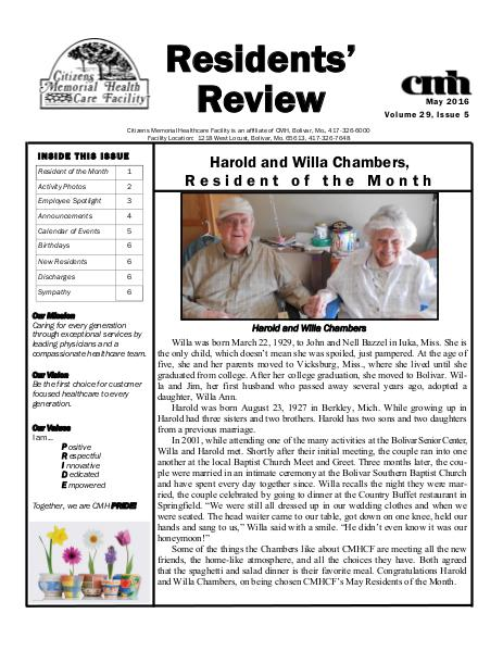 CMHCF Residents' Review May 2016