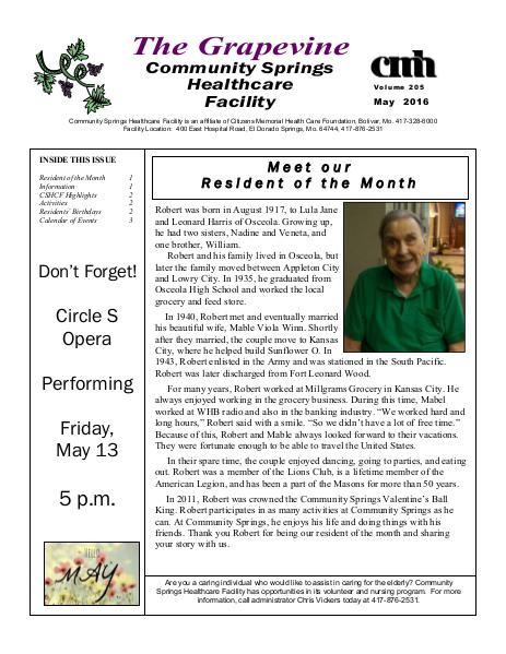 Community Springs Healthcare Facility's The Grapevine May 2016