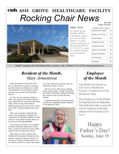 Ash Grove Healthcare Facility's Rocking Chair News June 2016