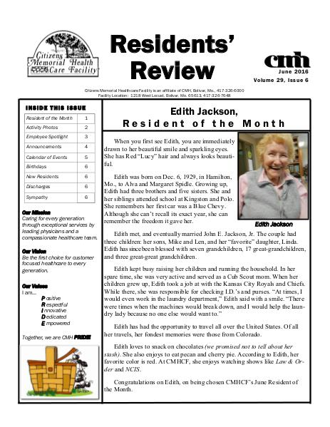 CMHCF Residents' Review June 2016
