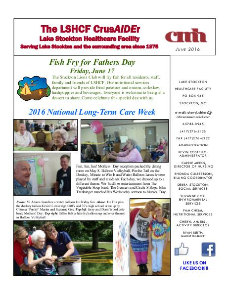 Lake Stockton Healthcare Facility eNewsletter June 2016