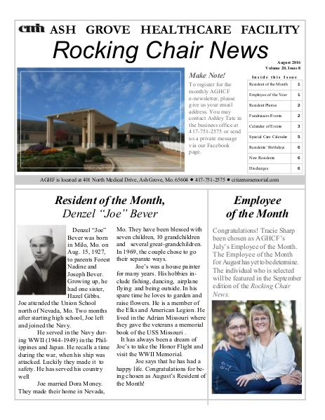 Ash Grove Healthcare Facility's Rocking Chair News August 2016