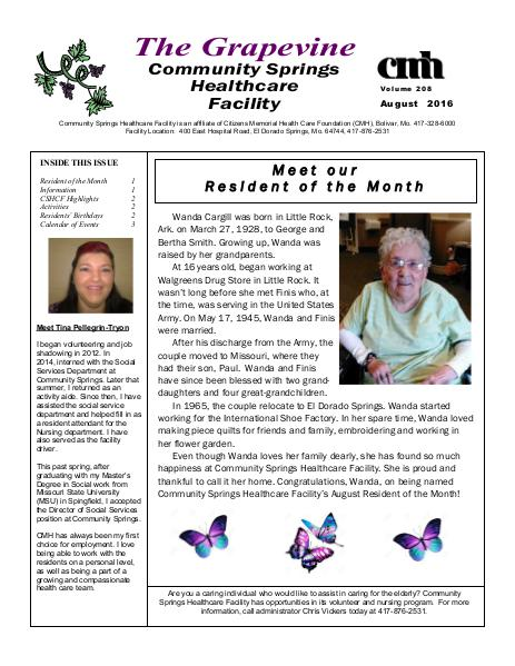 Community Springs Healthcare Facility's The Grapevine August 2016