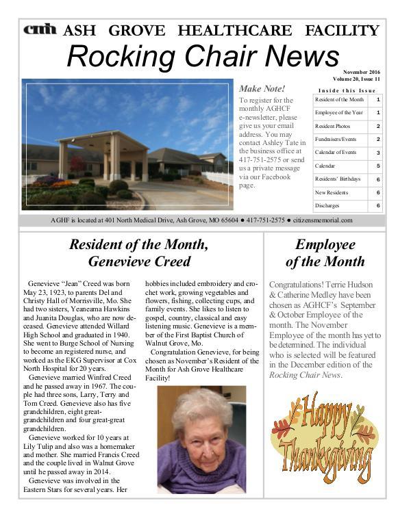 Ash Grove Healthcare Facility's Rocking Chair News November 2016