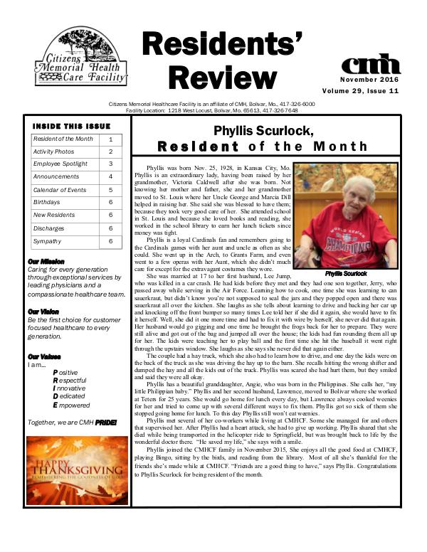 CMHCF Residents' Review November 2016