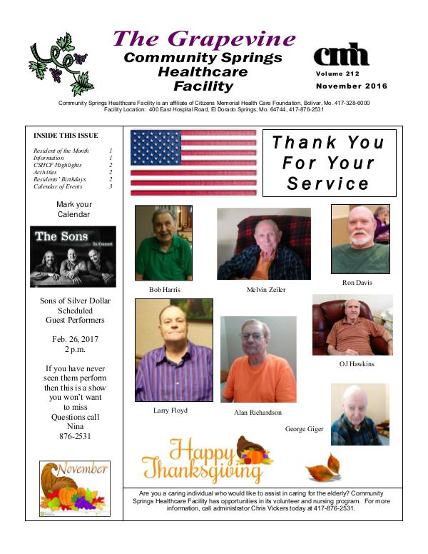 Community Springs Healthcare Facility's The Grapevine November 2016