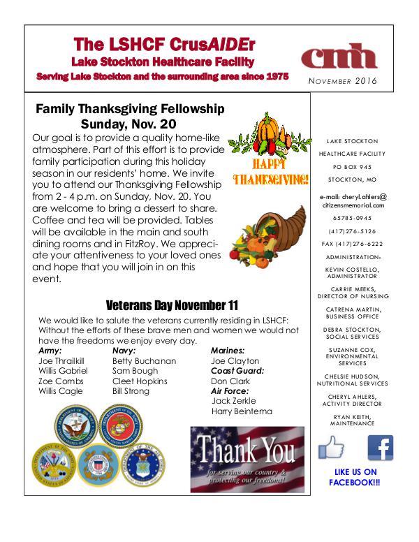 Lake Stockton Healthcare Facility eNewsletter November 2016