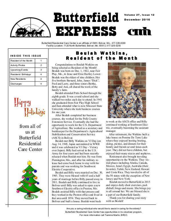 Butterfield Residential Care Center's Butterfield Express December 2016