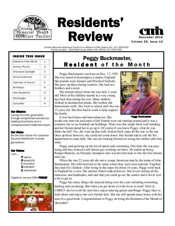 CMHCF Residents' Review December 2016