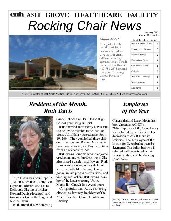 Ash Grove Healthcare Facility's Rocking Chair News January 2017