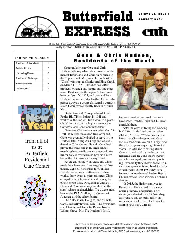 Butterfield Residential Care Center's Butterfield Express January 2017