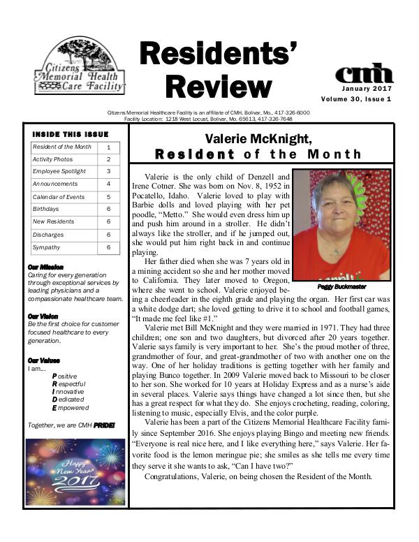 CMHCF Residents' Review January 2017