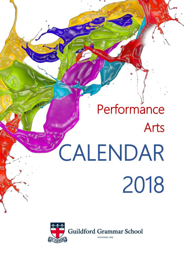 Performance Arts Calendar 2018 2018 Performance Calendar