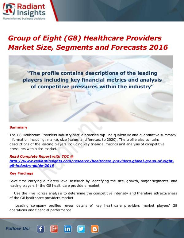 Group of Eight (G8) Healthcare Providers Market