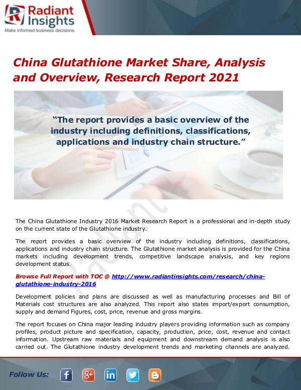 Pharmaceuticals and Healthcare Reports Glutathione Market