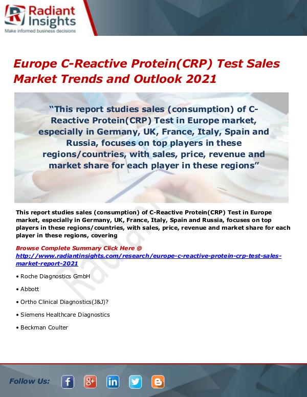 Pharmaceuticals and Healthcare Reports Europe C-Reactive Protein(CRP) Test Sales Market