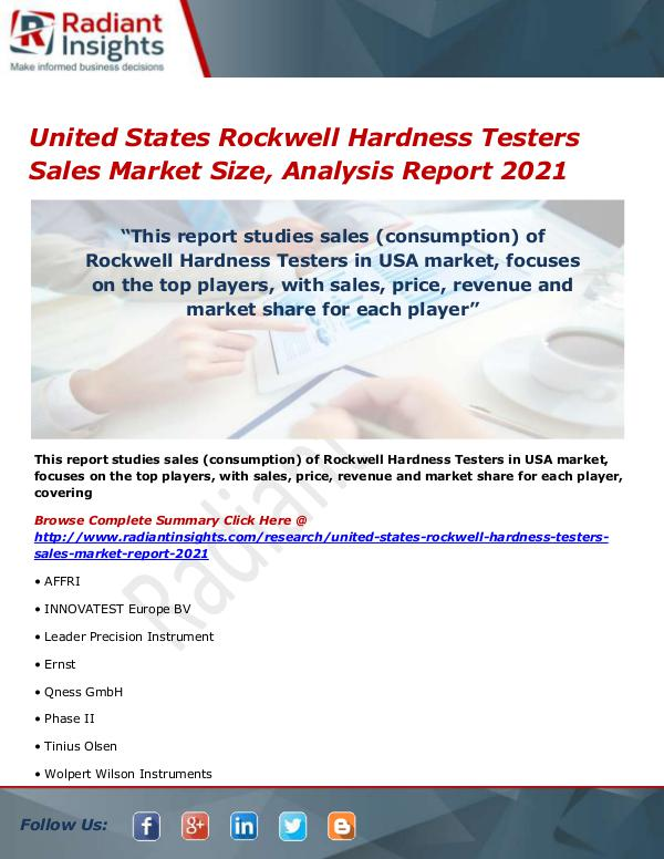 United States Rockwell Hardness Testers Sales Mark