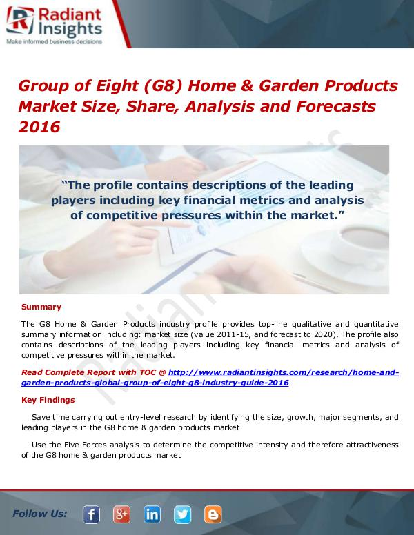 Consumer Goods Research Reports by Radiant Insights Group Of Eight (G8) Home & Garden Products Market
