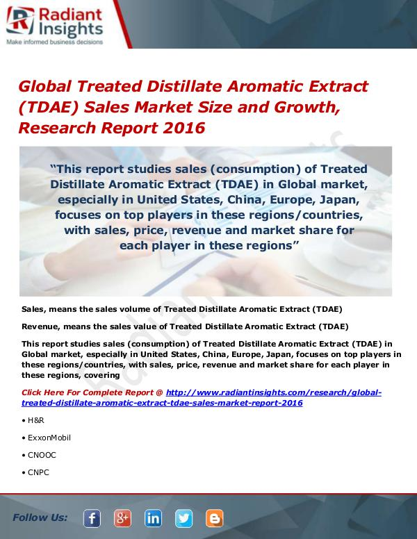 Global Treated Distillate Aromatic Extract (TDAE)