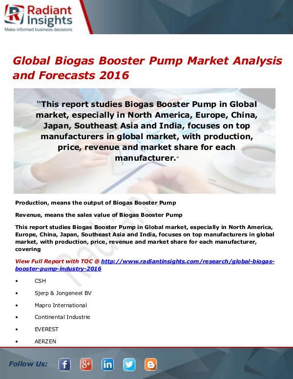 Global Biogas Booster Pump Market