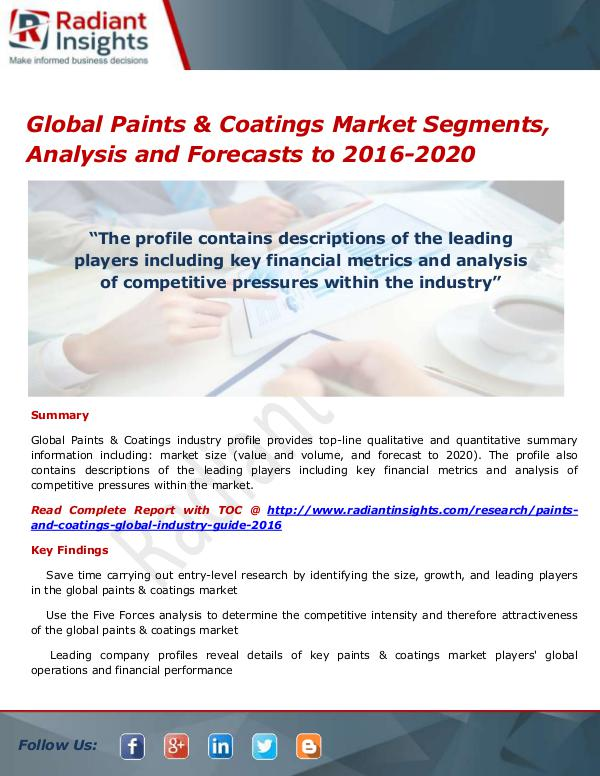 Chemicals and Materials Research Reports Global Paints & Coatings Market