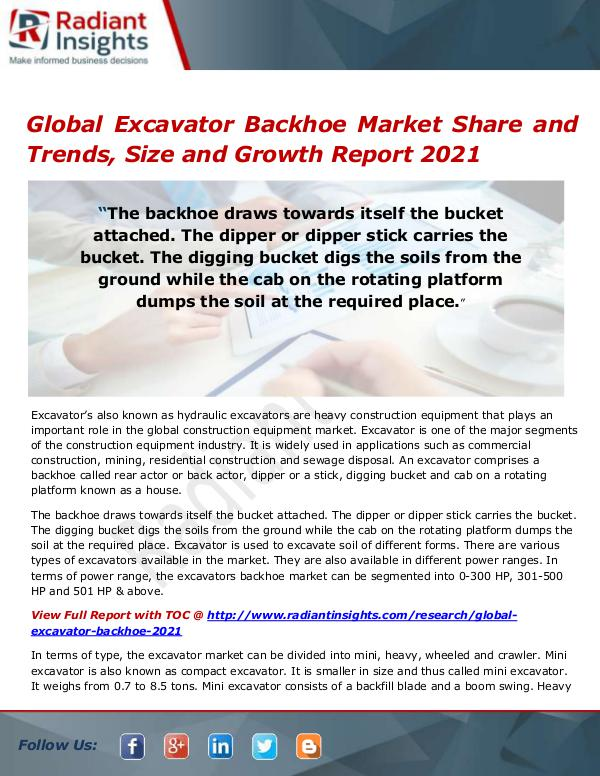 Electronics Research Reports by Radiant Insights Global Excavator Backhoe Market