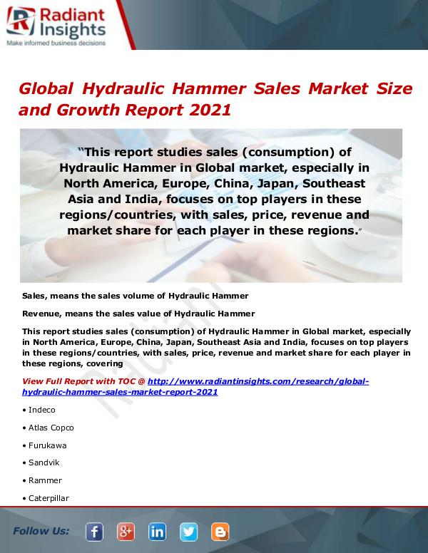Electronics Research Reports by Radiant Insights Global Hydraulic Hammer Sales Market