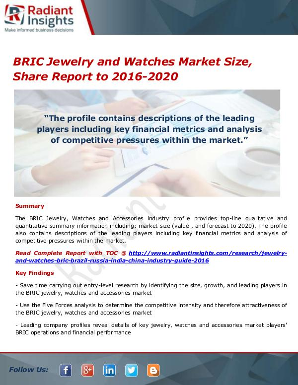Consumer Goods Research Reports by Radiant Insights BRIC Jewelry and Watches Market