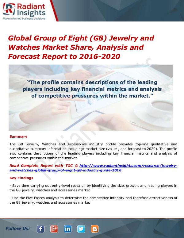 Consumer Goods Research Reports by Radiant Insights Global Group of Eight (G8) Jewelry and Watches Mar