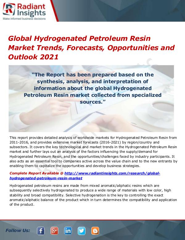 Chemicals and Materials Research Reports Global Hydrogenated Petroleum Resin Market