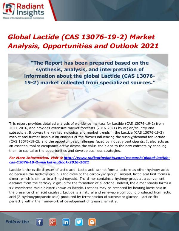 Global Lactide (CAS 13076-19-2) Market
