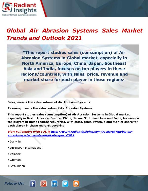 Global Air Abrasion Systems Sales Market