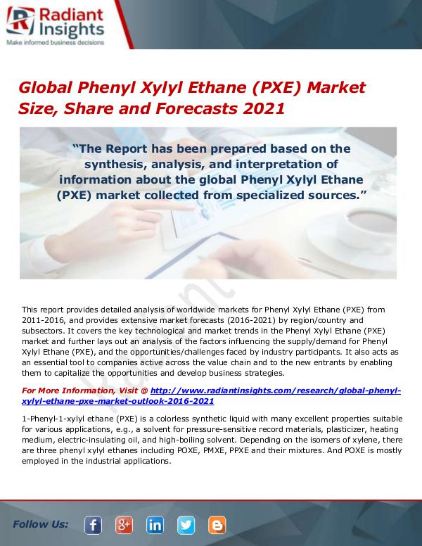 Chemicals and Materials Research Reports Global Phenyl Xylyl Ethane (PXE) Market