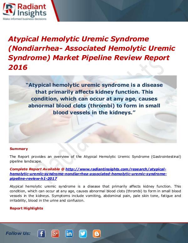 Atypical Hemolytic Uremic Syndrome (Nondiarrhea- A
