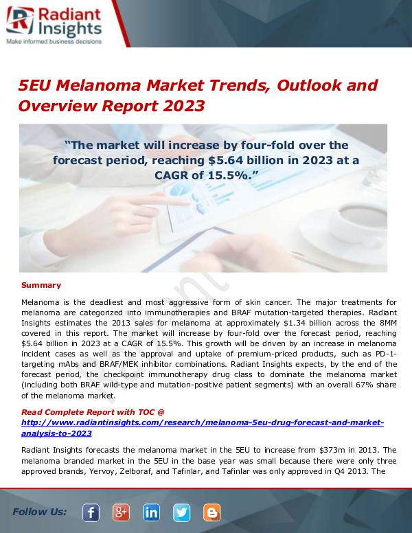 Pharmaceuticals and Healthcare Reports 5EU Melanoma Market