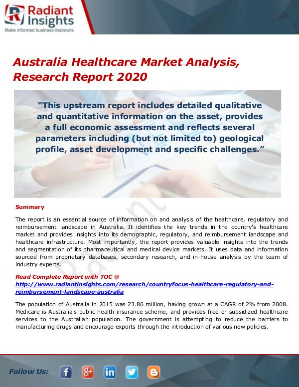 Pharmaceuticals and Healthcare Reports Australia Healthcare Market