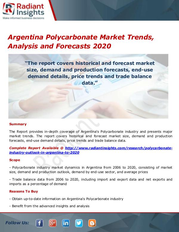 Chemicals and Materials Research Reports Argentina Polycarbonate Market