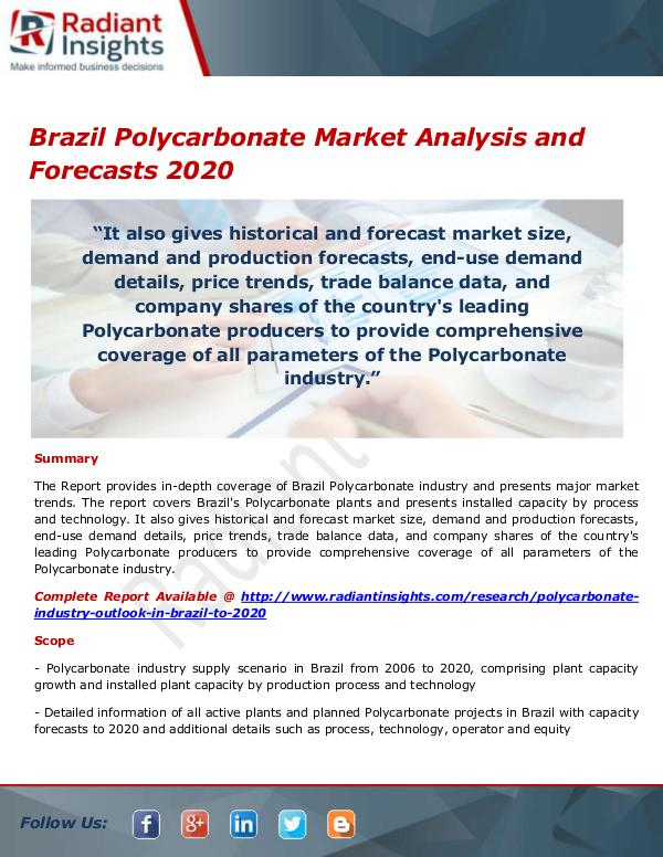Chemicals and Materials Research Reports Brazil Polycarbonate Market
