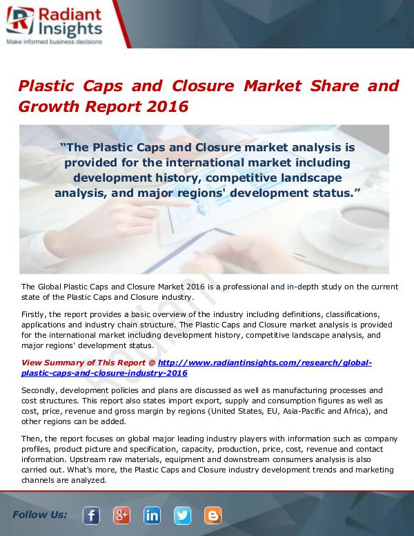 Plastic Caps and Closure Market Size, Share, Growt