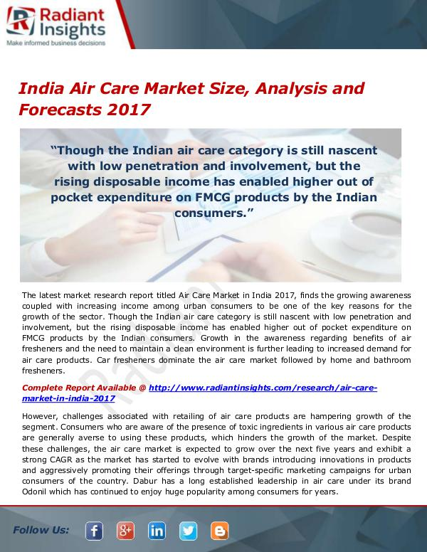 Consumer Goods Research Reports by Radiant Insights India Air Care Market Size, Share, Growth, Trends,