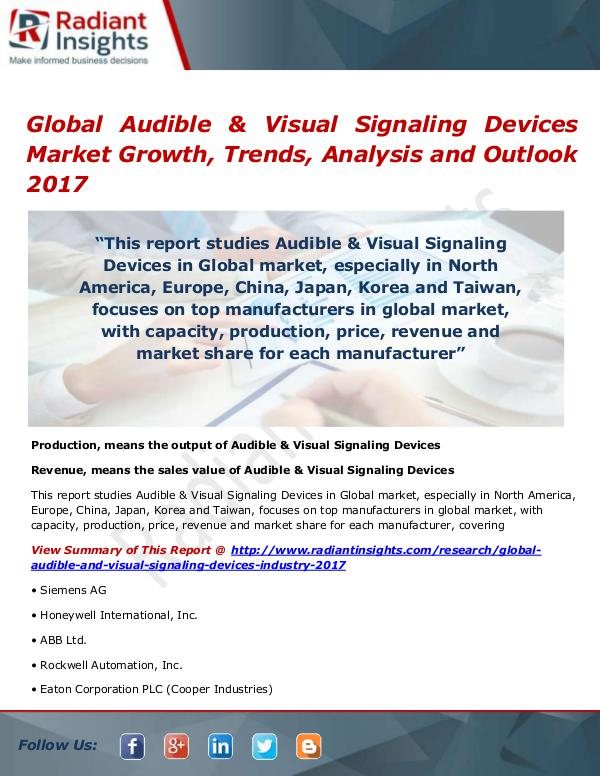 Electronics Research Reports by Radiant Insights Global Audible & Visual Signaling Devices Market S
