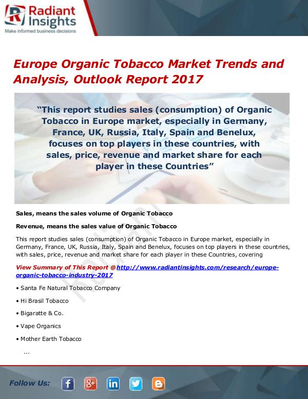 Chemicals and Materials Research Reports Europe Organic Tobacco Market Size, Share, Growth,