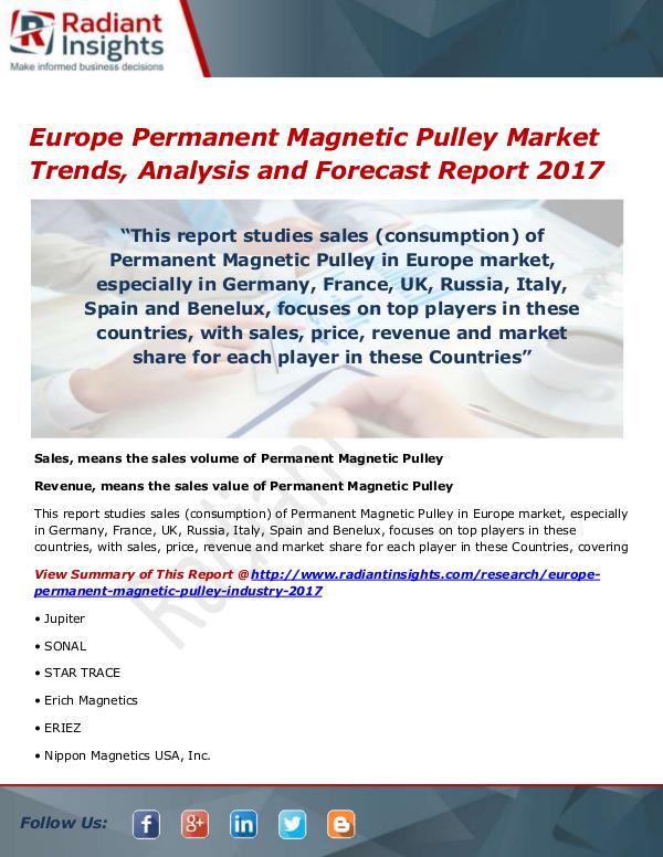 Europe Permanent Magnetic Pulley Market Size, Shar