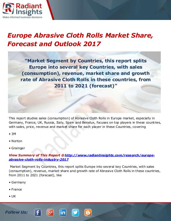 Chemicals and Materials Research Reports Europe Abrasive Cloth Rolls Market Size, Share, Gr