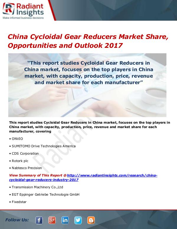 China Cycloidal Gear Reducers Market Size, Share,