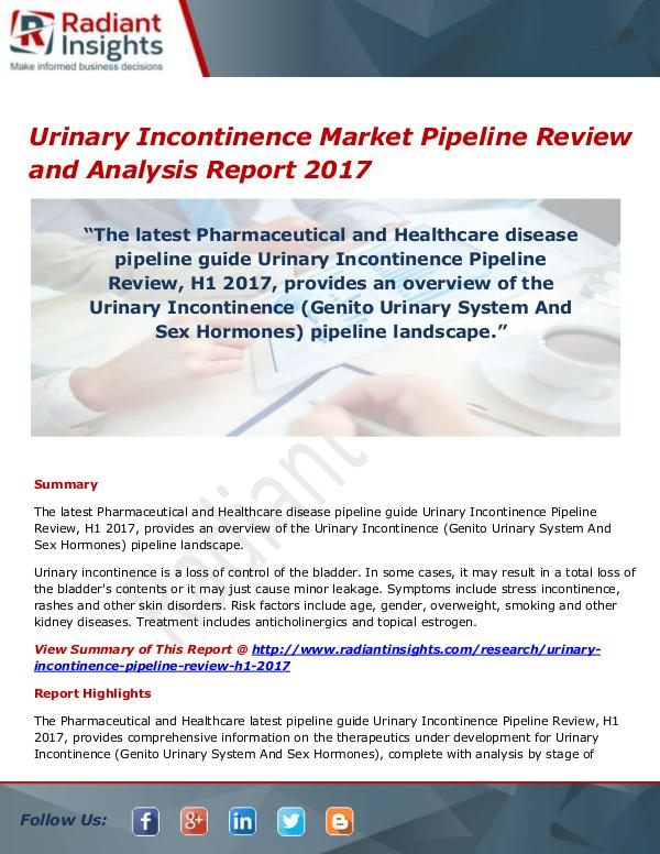 Pharmaceuticals and Healthcare Reports Urinary Incontinence Market Size, Share, Growth, T