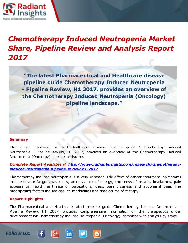 Pharmaceuticals and Healthcare Reports Chemotherapy Induced Neutropenia Market Size, Shar