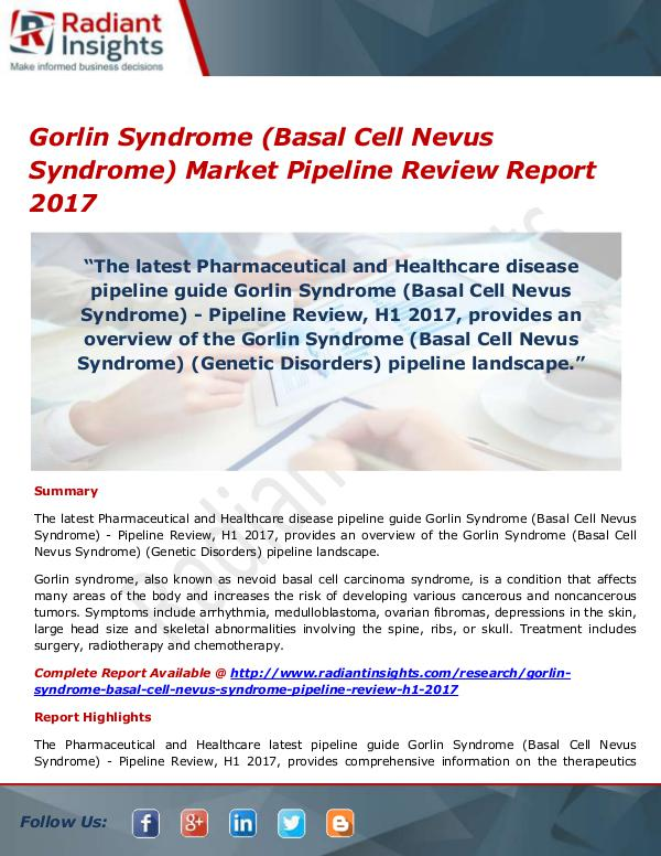 Pharmaceuticals and Healthcare Reports Gorlin Syndrome (Basal Cell Nevus Syndrome) Market