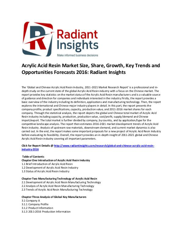 Acrylic Acid Resin Market Analysis, Key Trends, Opportunities 2016 Global and Chinese Acrylic Acid Resin Industry