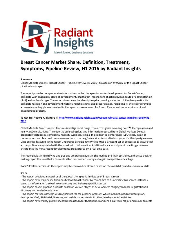 Breast Cancer Market Share, Definition, Pipeline Review, H1 2016 Breast Cancer Market